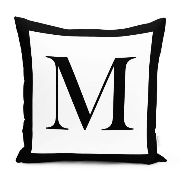 RealHomes Siyah Beyaz M Harfli Yastık Kırlent Kılıfı Realhomes