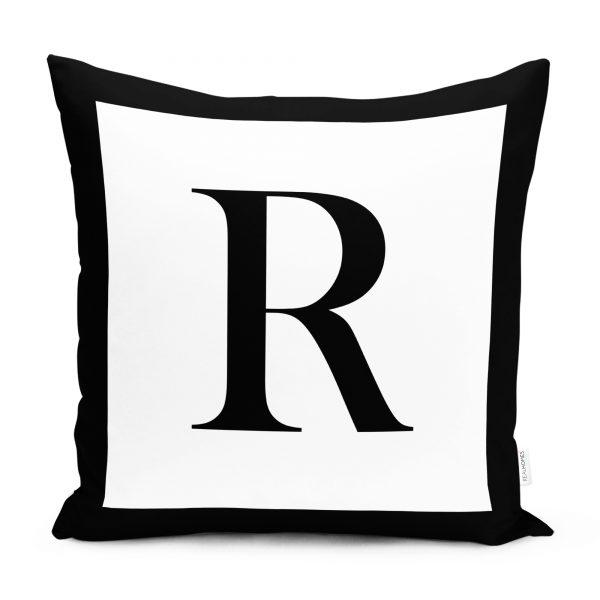 RealHomes Siyah Beyaz R Harfli Yastık Kırlent Kılıfı Realhomes
