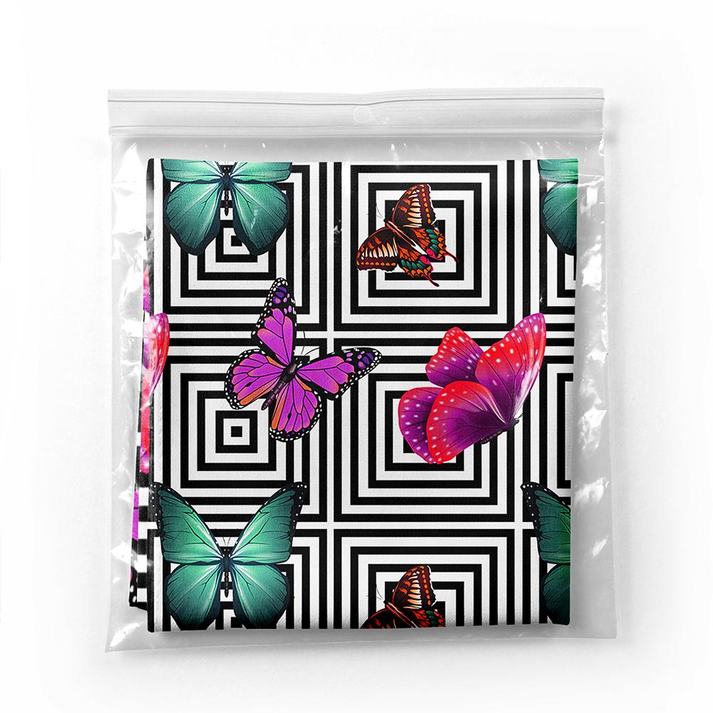 Geometrik Zeminde Renkli Kelebekler Özel Tasarım Tivil Eşarp Realhomes