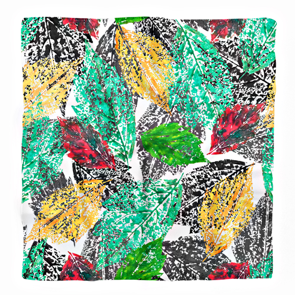 Realhomes Renkli yapraklar Dijital Baskılı Modern Tivil Eşarp Realhomes