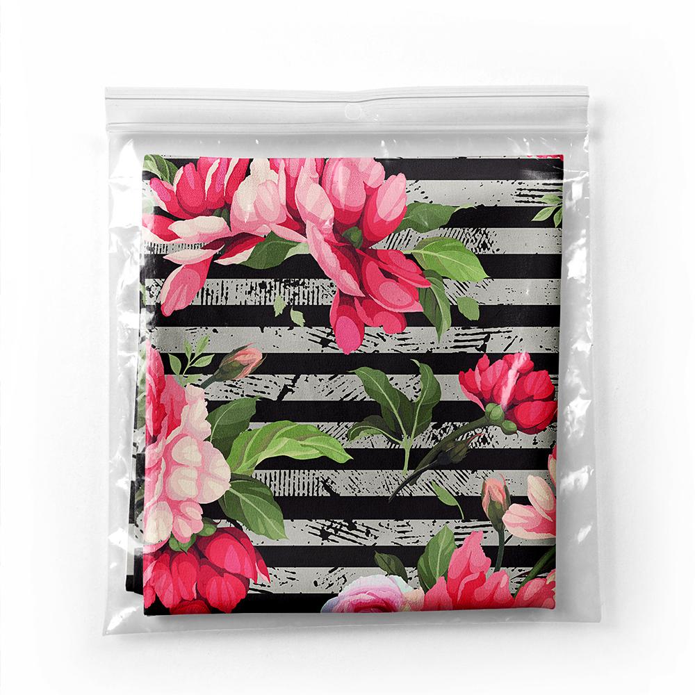 Realhomes Moda Çizgili Zeminde Renkli Çiçekler Dijital Baskılı Modern Tivil Eşarp Realhomes
