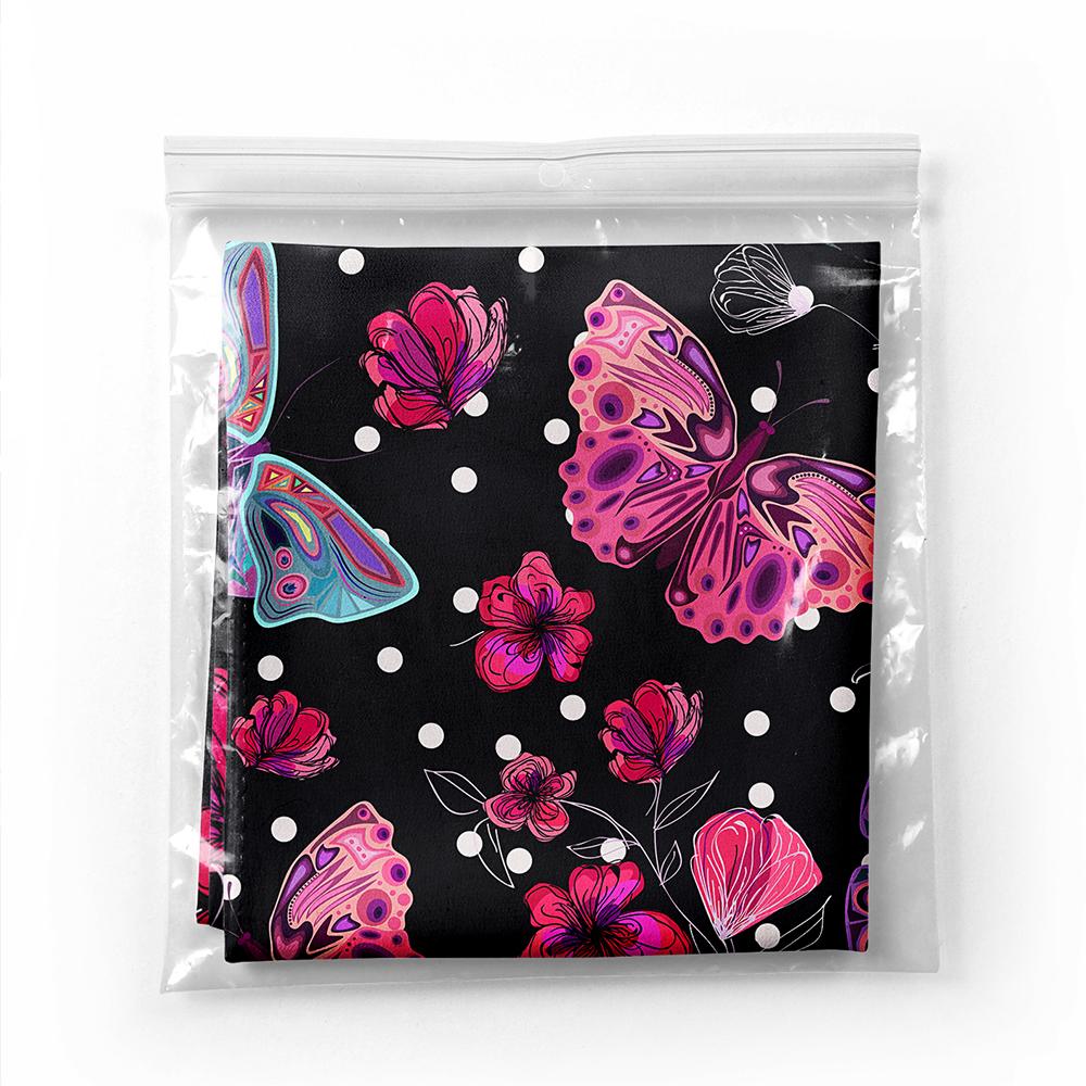 Realhomes Moda Siyah Zeminde Butterfly Dijital Baskılı Modern Tivil Eşarp Realhomes