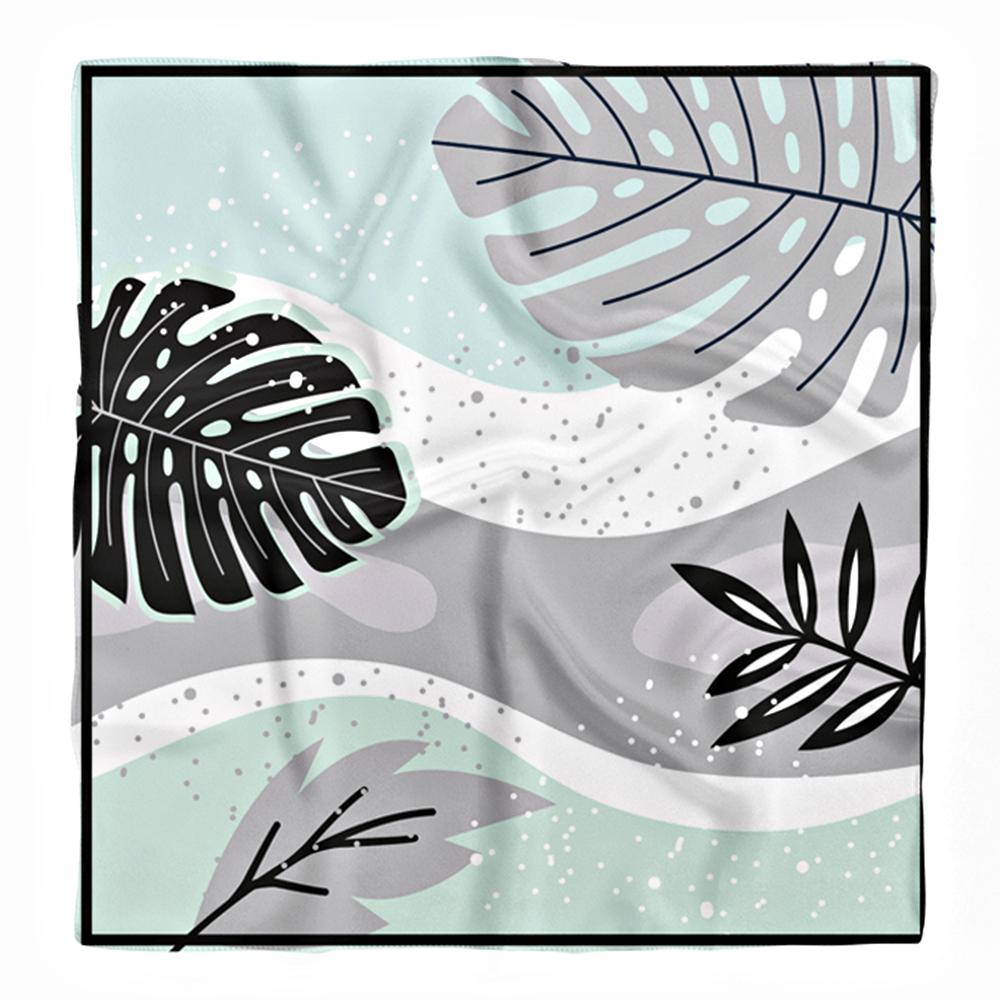 Modern Amazon Yaprakları Özel Tasarım İpeksi Twill Eşarp Realhomes