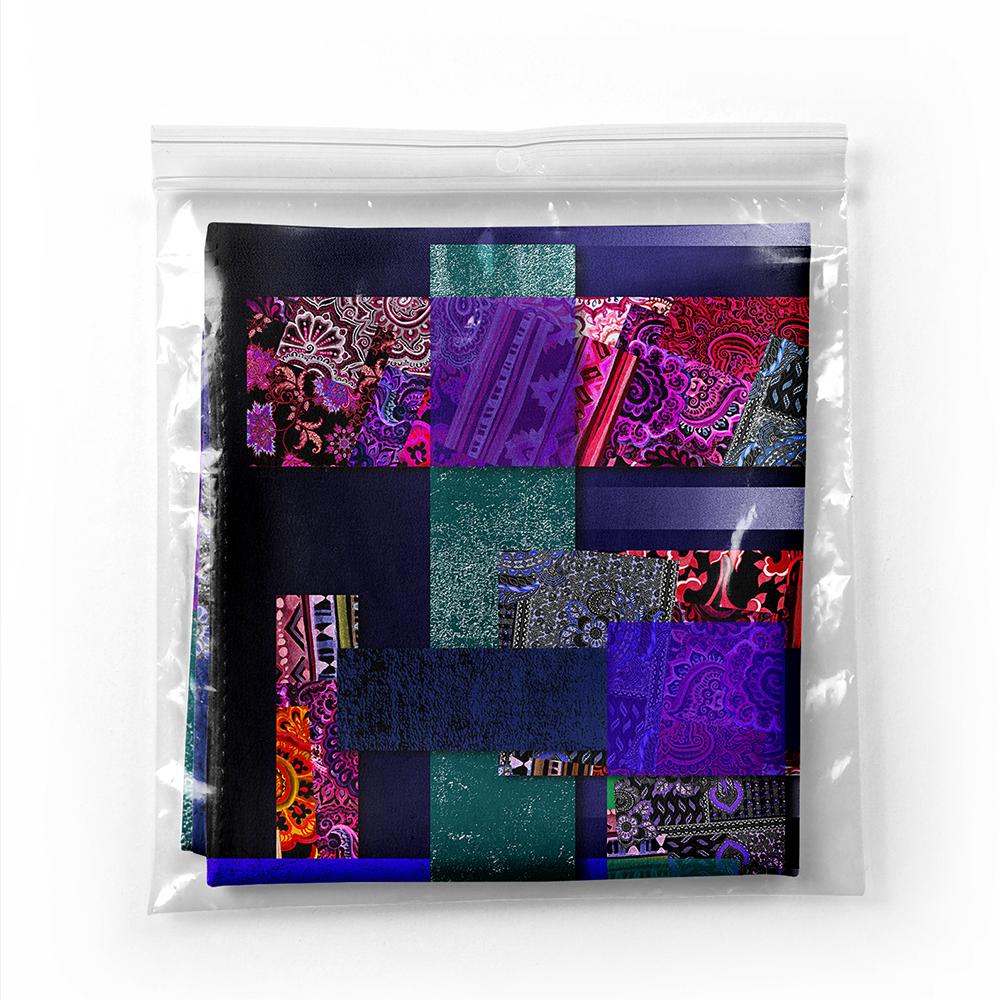 Renkli Geometrik Kare ve Dikdörtgen Tasarımlı Özel Tasarım Tivil Eşarp Realhomes
