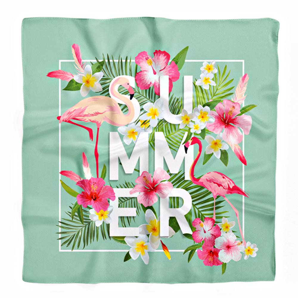 Yeşil Zemin Summer Flamingo Tasarımlı Tivil Eşarp Realhomes