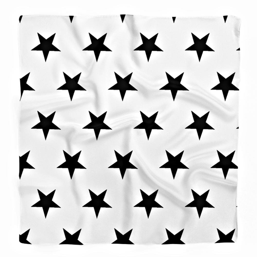 Beyaz Zeminde Siyah Yıldızlar Dijital Baskılı Tivil Eşarp Realhomes