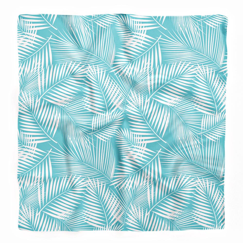 Mavi Zemin Beyaz Yapraklar ve Özel Tasarım Tivil Eşarp Realhomes