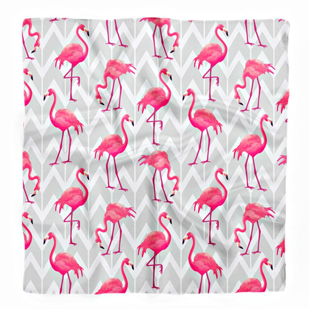 Gri Zemin Beyaz Zigzag ve Pembe Flamingo Tasarımlı İpeksi Twill Eşarp Realhomes