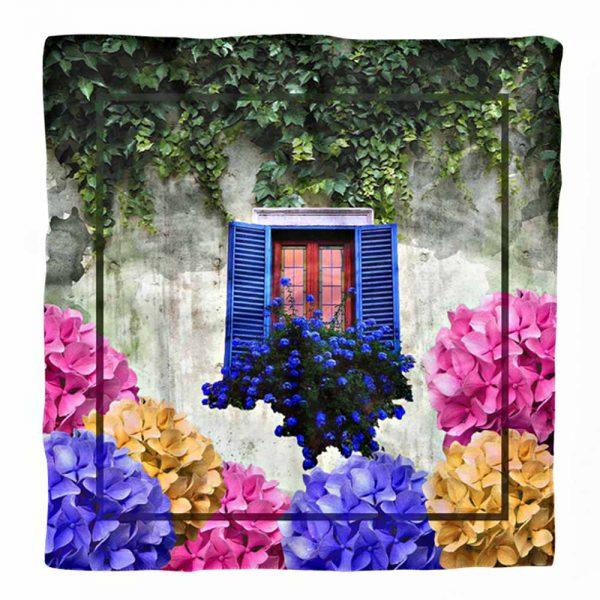 Pencere ve Çiçekler Özel Tasarım Dijital Baskılı Tivil Eşarp Realhomes