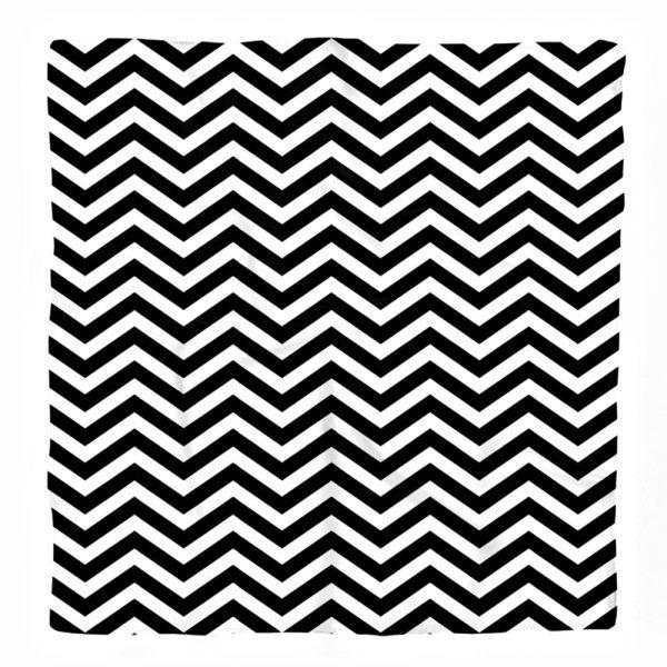 Siyah Beyaz Renkte Zigzaglar Özel Tasarımlı İpeksi Twill Eşarp Realhomes