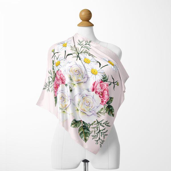 Pembe Zeminde Çiçekler Özel Tasarımlı Tivil Eşarp Realhomes