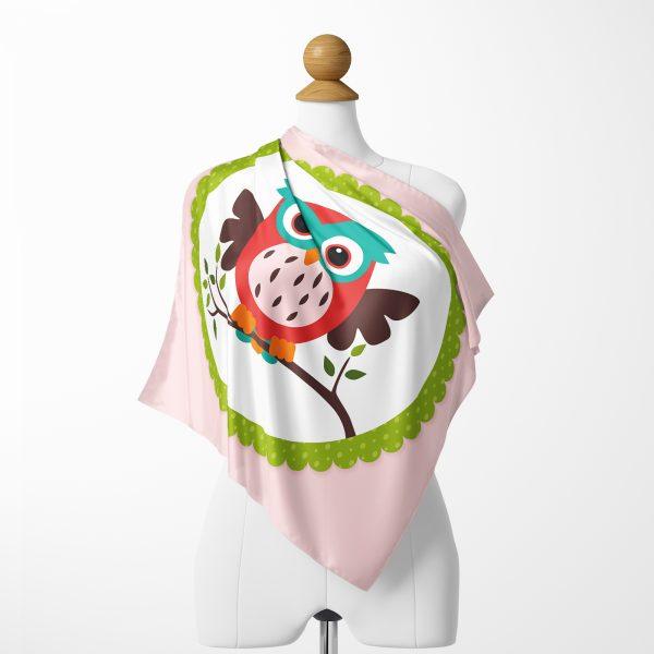 Pembe Zeminde Baykuş Desenli Özel Tasarım İpeksi Twill Eşarp Realhomes