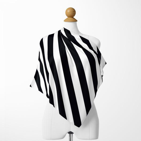 Siyah Beyaz Çapraz Şeritler Özel Tasarımlı İpeksi Twill Eşarp Realhomes