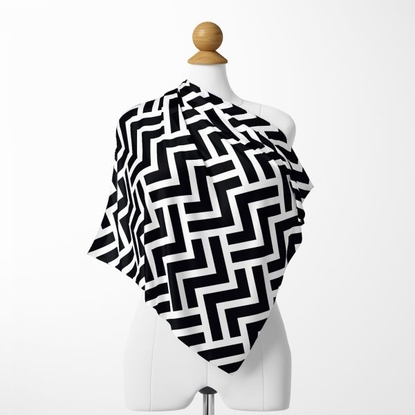 Siyah Beyaz Zigzaglar Özel Tasarımlı İpeksi Twill Eşarp Realhomes