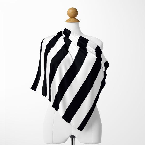 Siyah Beyaz Şeritler Dijital Baskılı İpeksi Twill Eşarp Realhomes