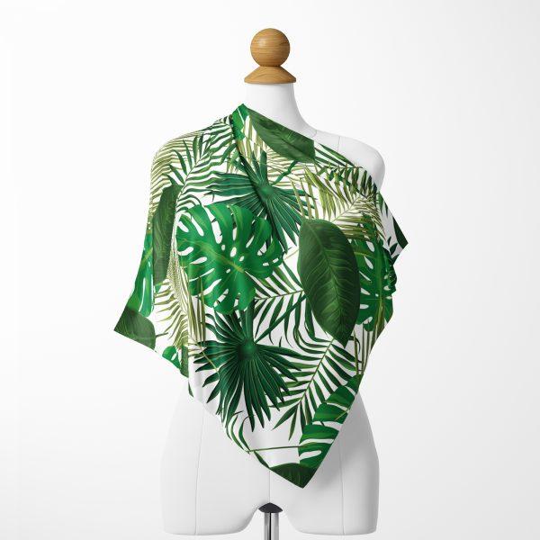 Tropik Yeşil Yapraklar Özel Tasarımlı Dijital Baskılı İpeksi Twill Eşarp Realhomes