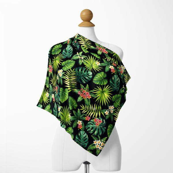 Siyah Zeminde Tropik Yapraklar Özel Tasarımlı İpeksi Twill Eşarp Realhomes