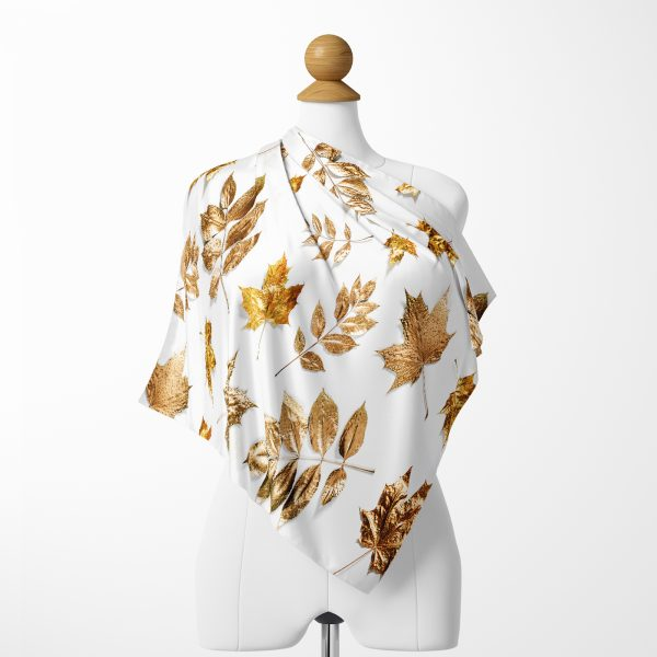 Pembe Altın Varaklı Ogea Desenli Modern İpeksi Twill Eşarp Realhomes