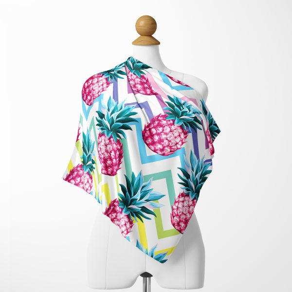 Renkli Zigzag Desenli Ananaslar Modern Tasarımlı İpeksi Twill Eşarp Realhomes