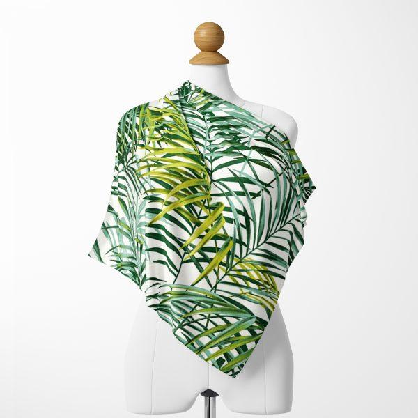 Yeşil Palmiye Yaprakları Özel Tasarımlı  Tivil Eşarp Realhomes