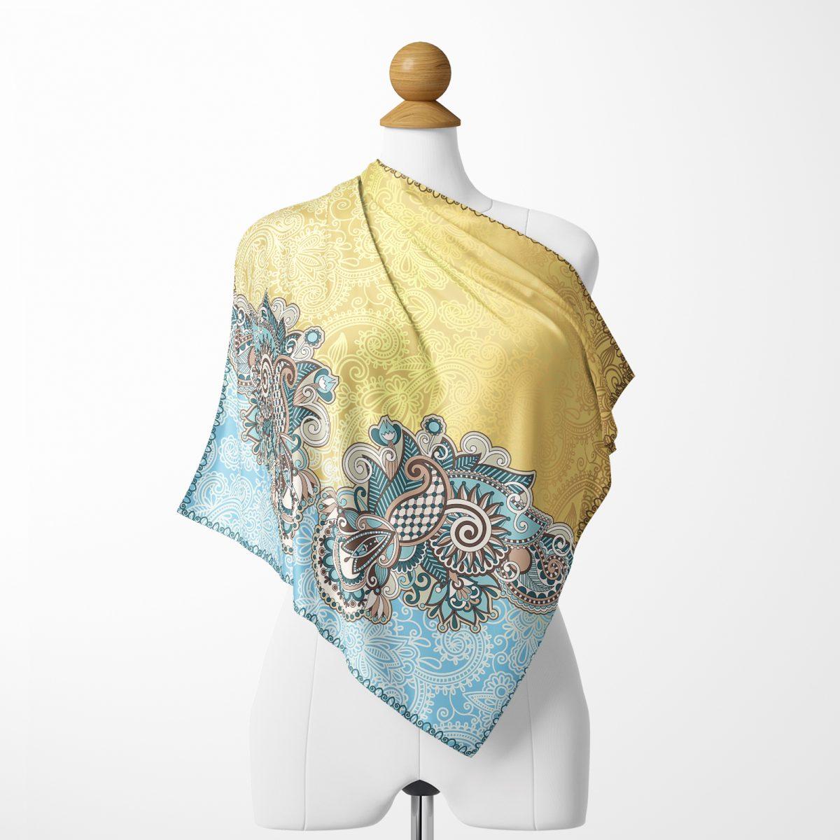 Realhomes Gold ve mavi ahengi Dijital Baskılı Modern Tivil Eşarp Realhomes