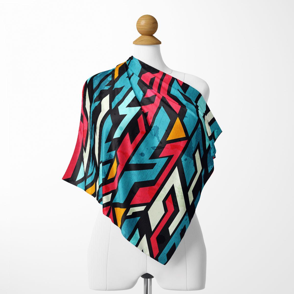 Realhomes Geometrik Motifler Özel tasarım Dijital Baskılı Tivil Eşarp Realhomes