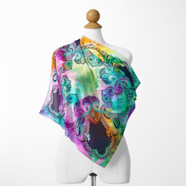 Realhomes Çizgili Zeminde Renkli Çiçekler Dijital Baskılı Modern Tivil Eşarp Realhomes