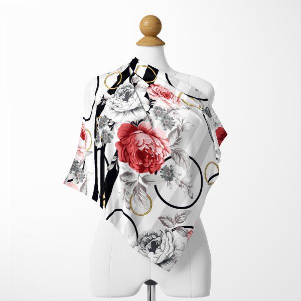 Realhomes Beyaz Zeminde Kırmızı Çiçekler Dijital Baskılı Modern Tivil Eşarp Realhomes
