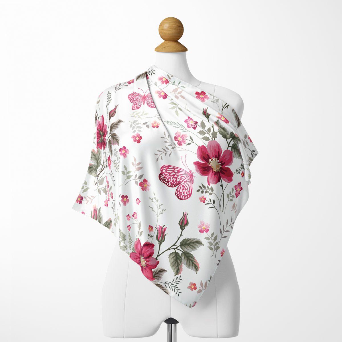 Realhomes Beyaz Zeminde Pembe Çiçekler Dijital Baskılı Modern İpeksi Twill Eşarp Realhomes