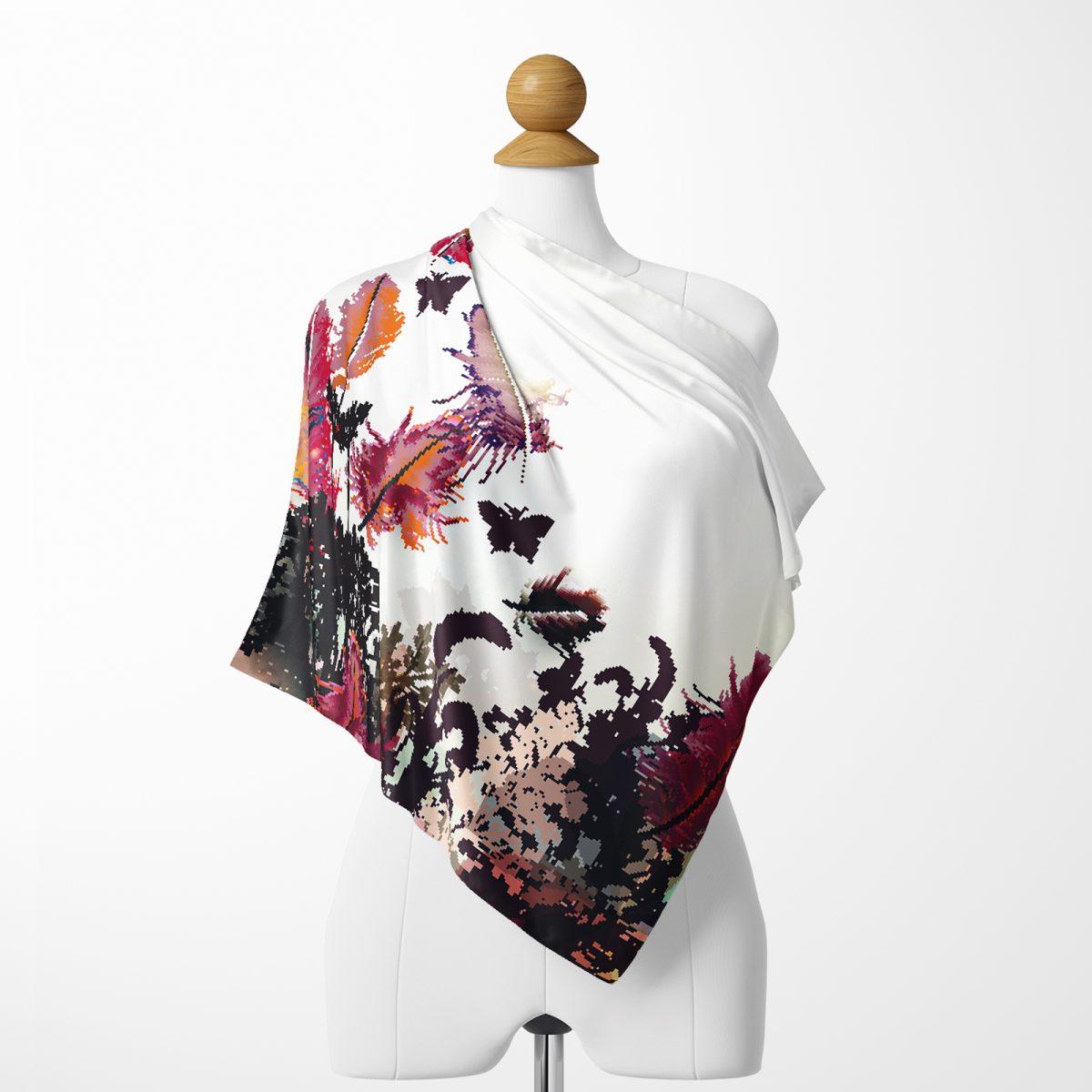 Realhomes Moda Butterfly Dijital Baskılı Modern İpeksi Twill Eşarp Realhomes