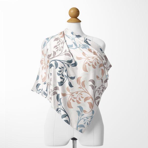 Realhomes Krem Zeminli Özel Tasarım Dijital Baskılı Modern İpeksi Twill Eşarp Realhomes