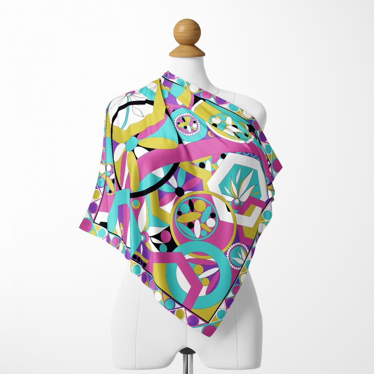 Realhomes Renkli Desenler Dijtal Baskılı Modern Tivil Eşarp Realhomes