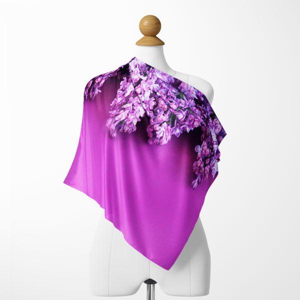 Realhomes Mor Çiçek Motifli  Dijital Baskılı Modern Tivil Eşarp Realhomes