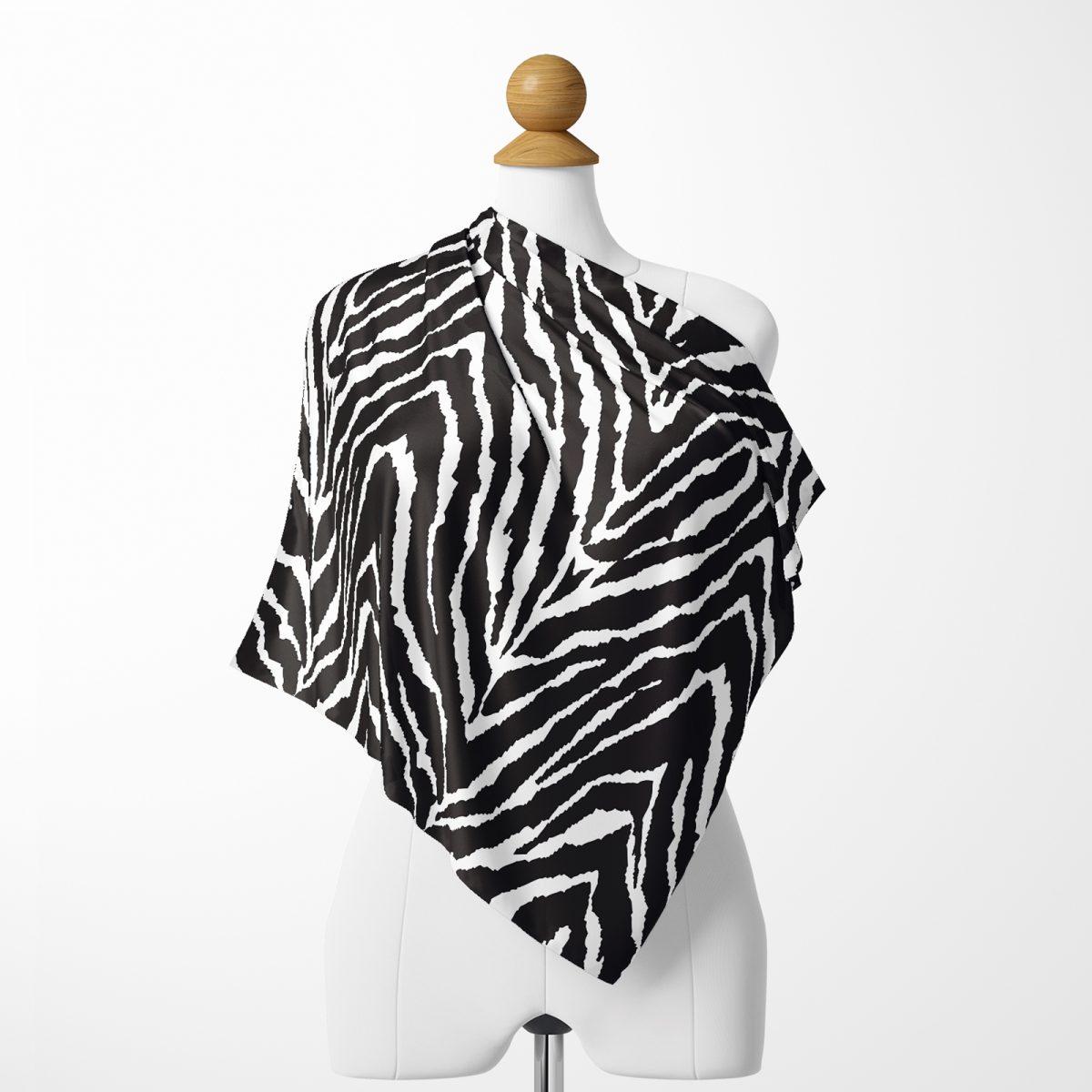 Realhomes Zebra Desenlii Özel Tasarım Dijital Baskılı Modern Tivil Eşarp Realhomes