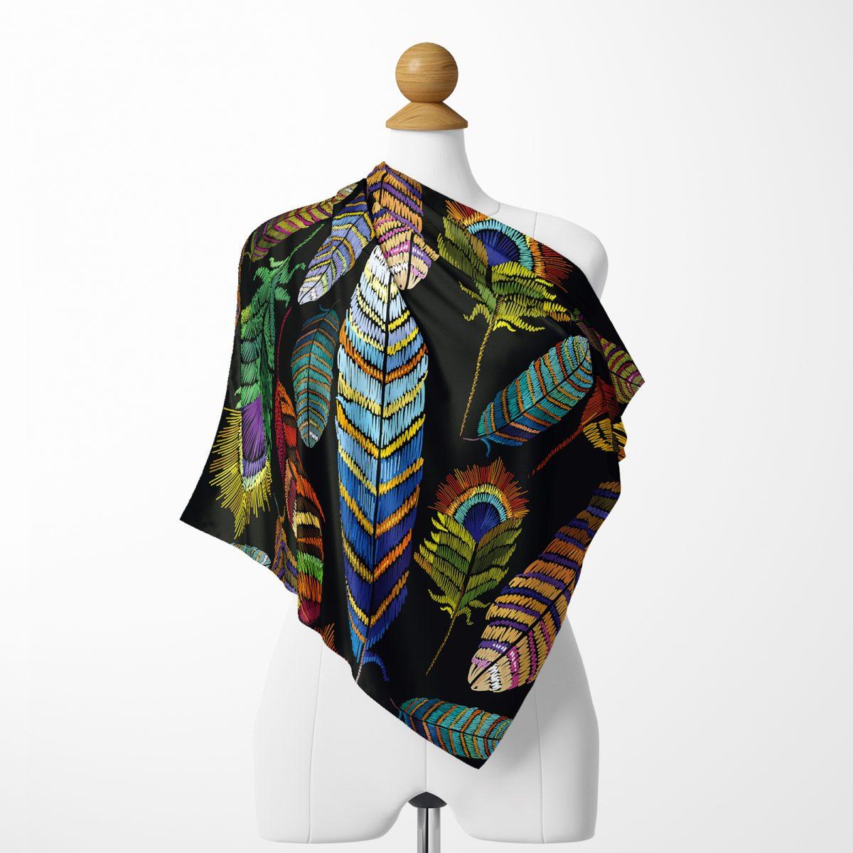 Realhomes Moda Renkli yapraklar Dijital Baskılı Modern Tivil Eşarp Realhomes