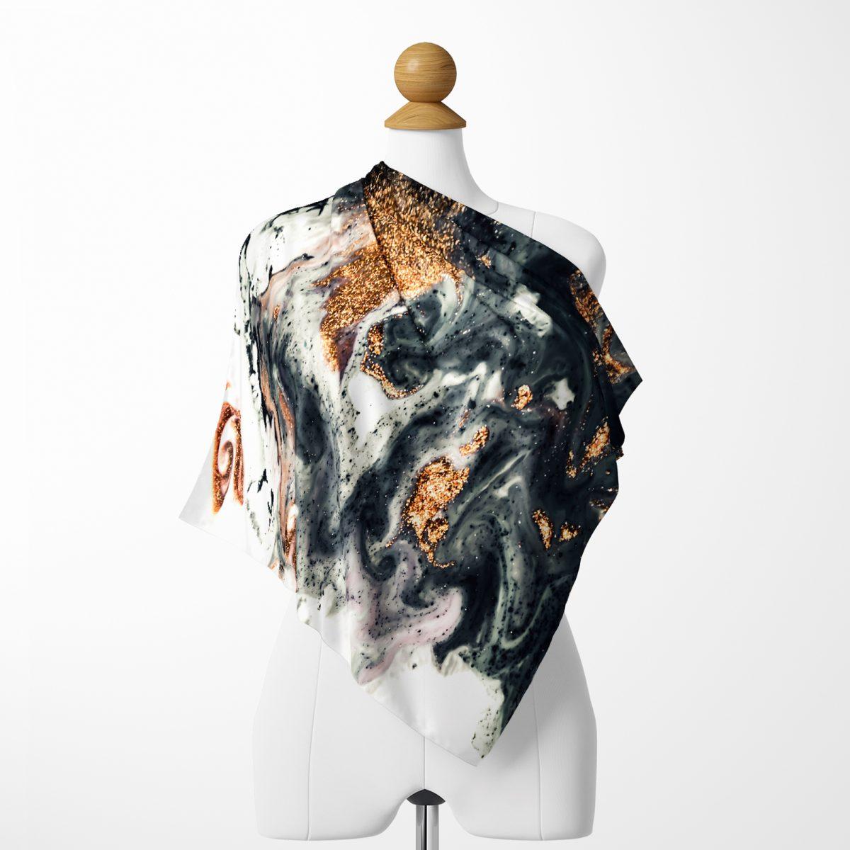 Realhomes Suluboya Desenli Dijital Baskılı Modern Tivil Eşarp Realhomes