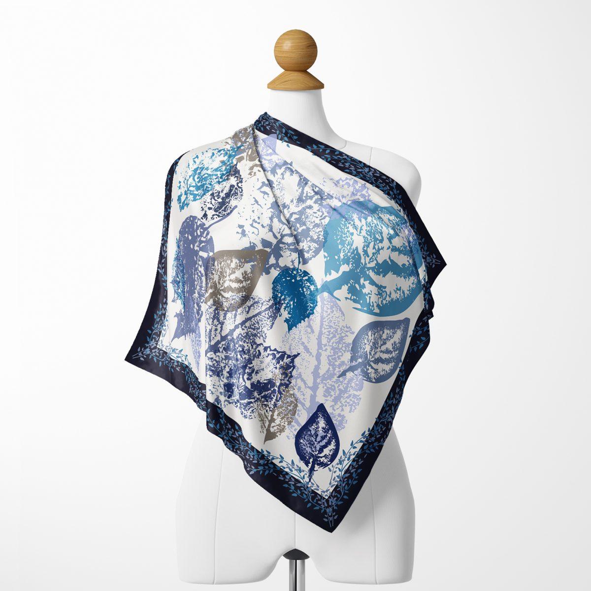 Realhomes Moda  Beyaz Zeminde Mavi Yaprak Motifli Dijital Baskılı Modern Tivil Eşarp Realhomes
