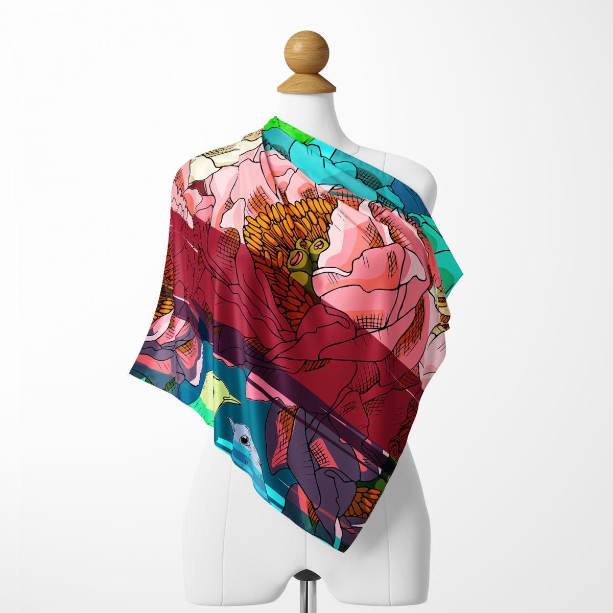 Realhomes Kuş motifli Dijital Baskılı Modern Tivil Eşarp Realhomes