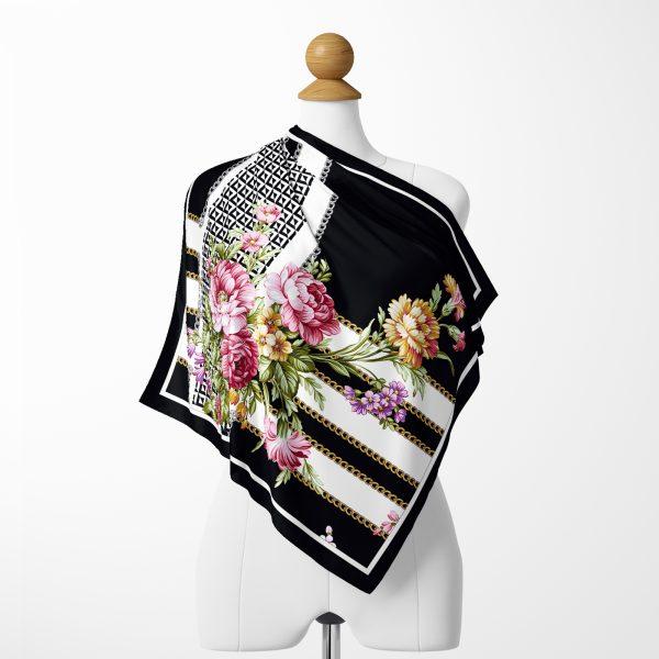 Realhomes Kırmzı Zeminde Etnik Motifler Dijital Baskılı Modern Tivil Eşarp Realhomes