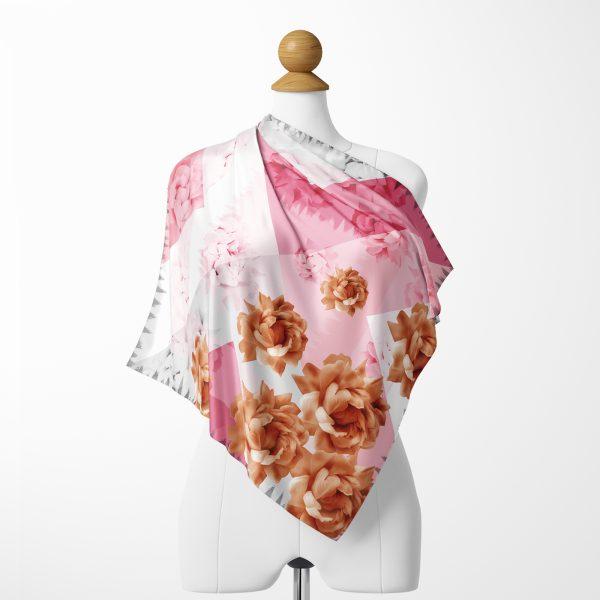 Realhomes Moda Ebru Desenli Dijital Baskılı Modern Tivil Eşarp Realhomes