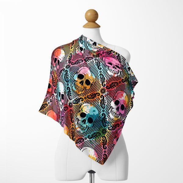 Realhomes Moda Renkli Zeminde Kurukafa Motifli Dijital Baskılı Modern Tivil Eşarp Realhomes
