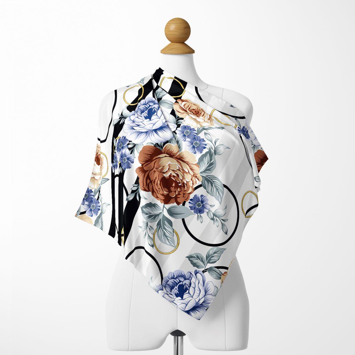 RealHomes Moda Özel Tasarım Dijital Baskılı Modern İpeksi Twill Eşarp Realhomes