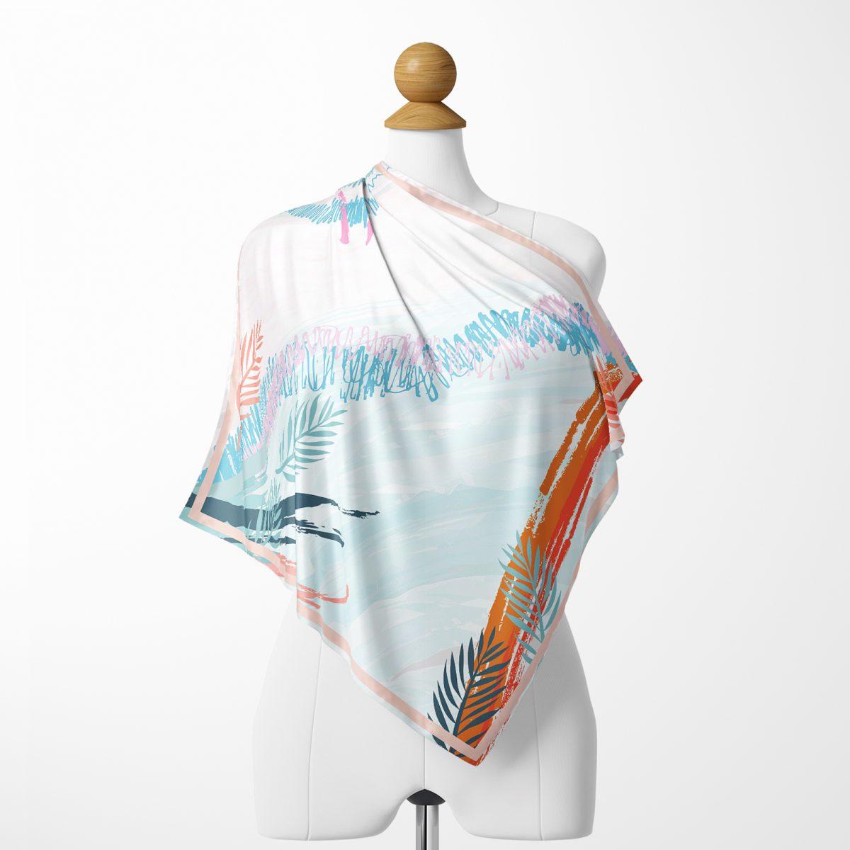 Modern Mavi ve Turuncu Tasarımlı Dijital Baskılı İpeksi Twill Eşarp Realhomes