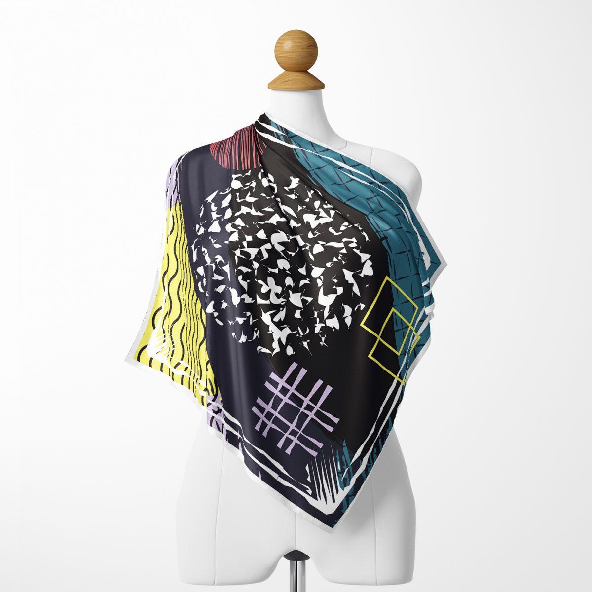 Renkli Modern Puantiyeli Özel Tasarım Tivil Eşarp Realhomes