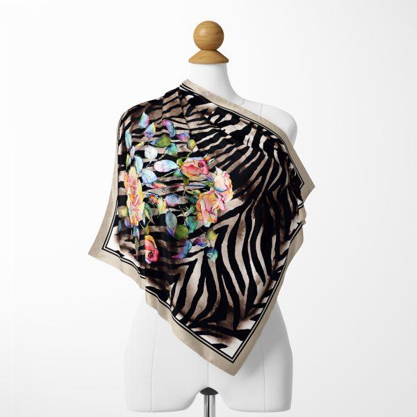 Modern Sanat Tasarımlı Dijital Baskılı İpeksi Twill Eşarp Realhomes