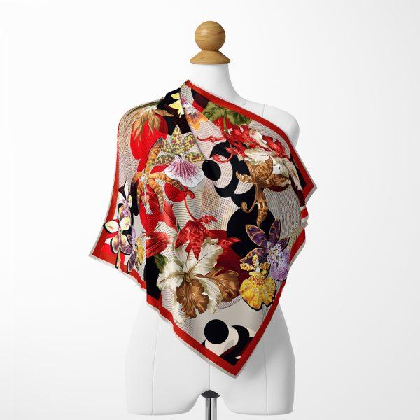 Modern Çiçekler Motifli Özel Tasarım Tivil Eşarp Realhomes