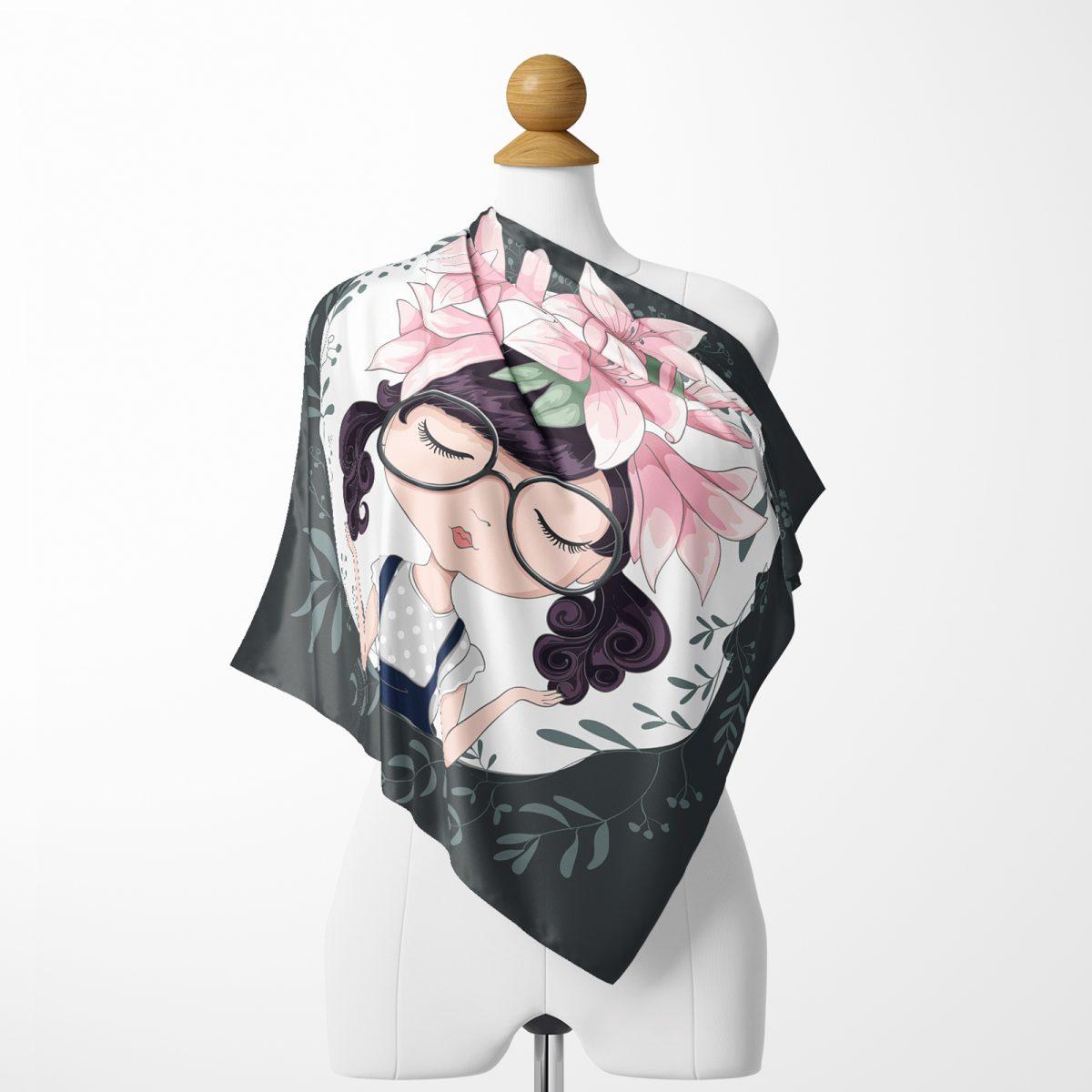 Pop Art Özel Tasarım Dijital Baskılı İpeksi Twill Eşarp Realhomes