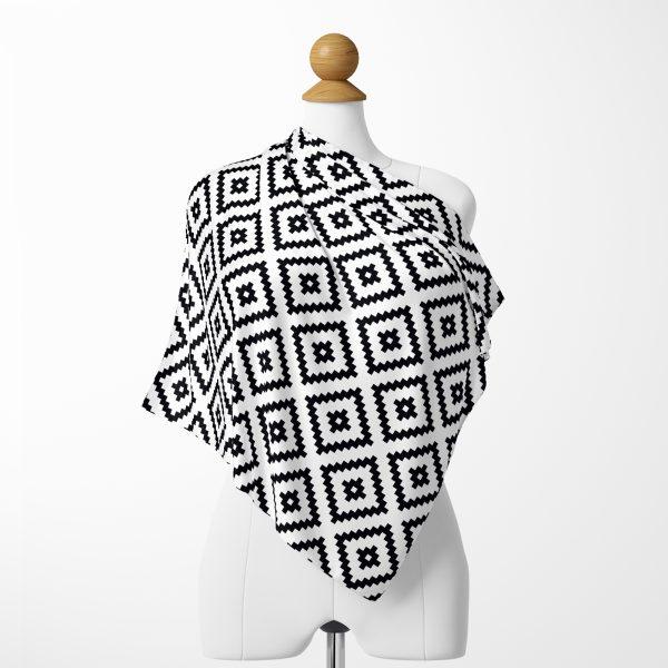 RealHomes Moda Özel Tasarım Fiyah Beyaz Damalı Modern Tivil Eşarp Realhomes