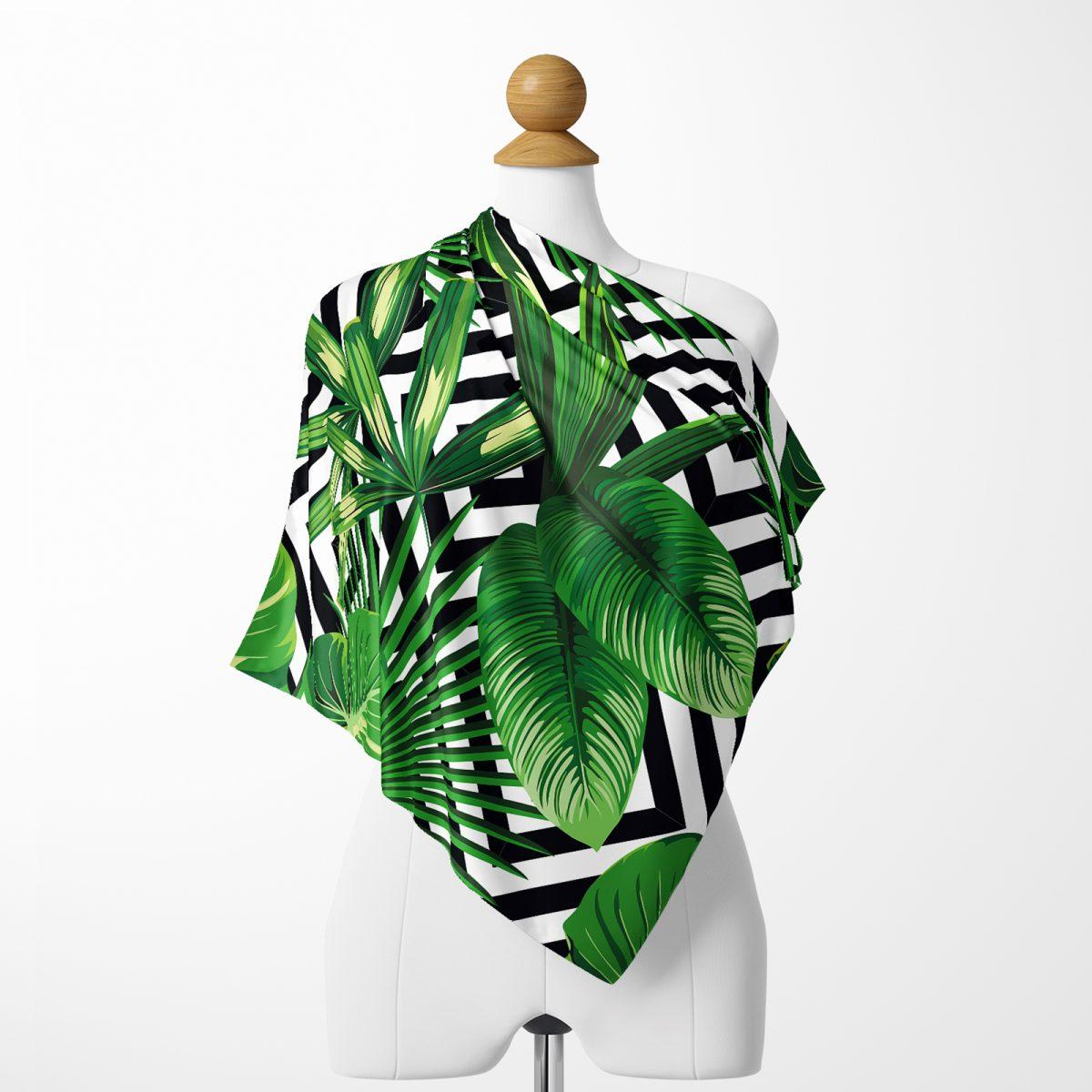 Yeşil Amazon Yaprakları Özel Tasarım Tivil Eşarp Realhomes