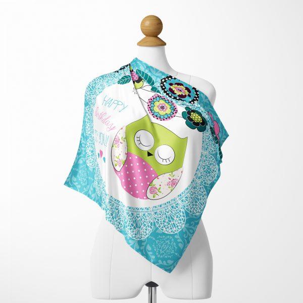 Mavi Oval Kenar ve Baykuş Desenli Özel Tasarım İpeksi Twill Eşarp Realhomes